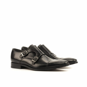 Double Monk Black Calf leather